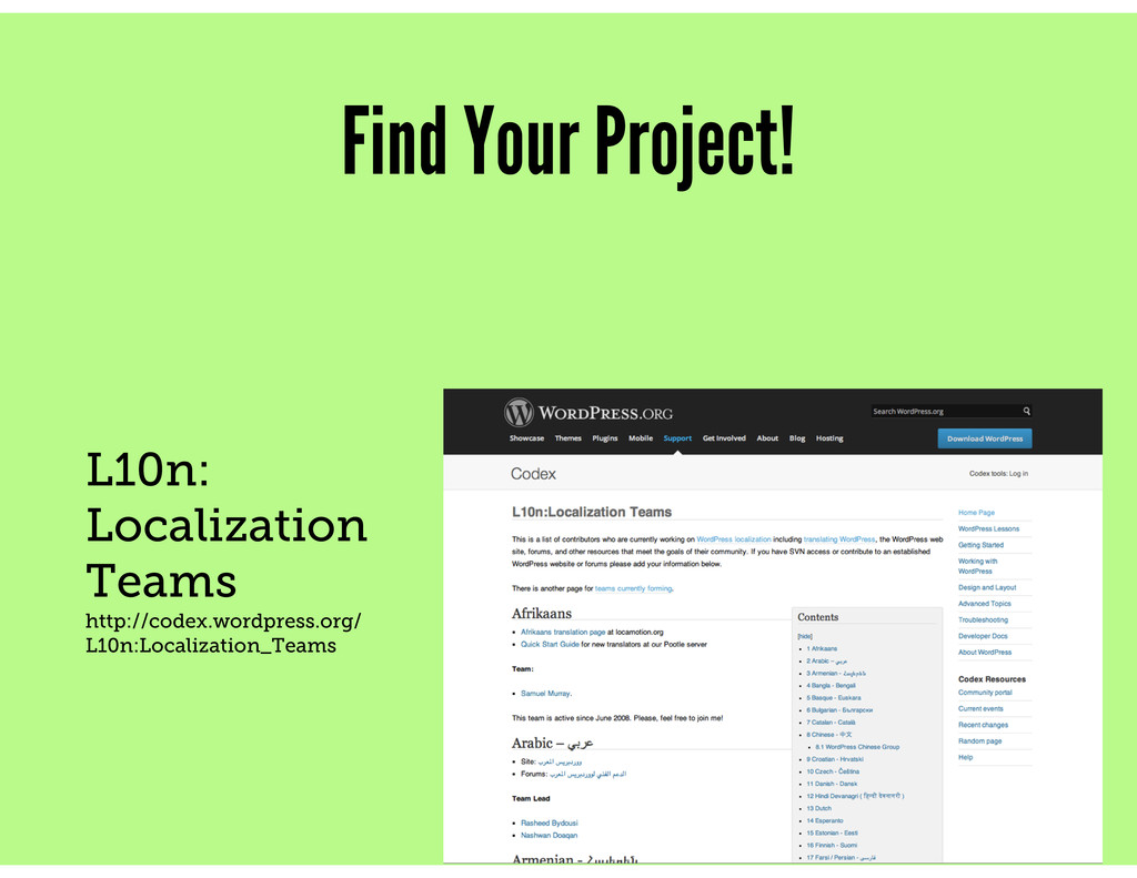 Find Your Project! L10n: Localization Teams htt...