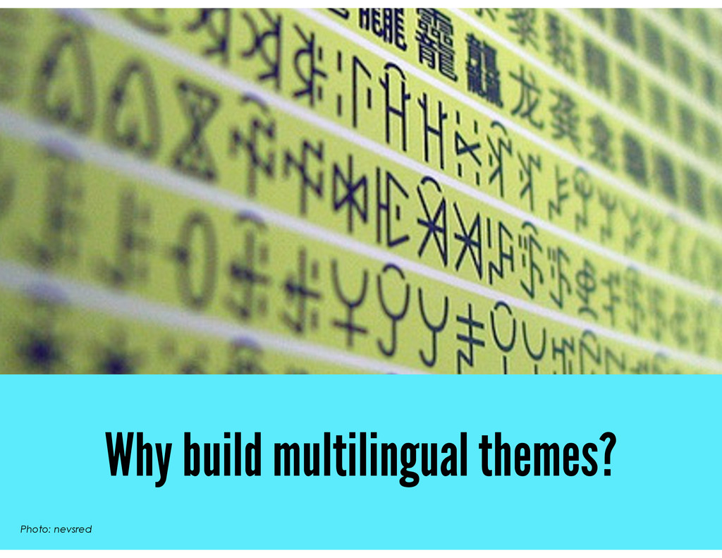 Why build multilingual themes? Photo: nevsred