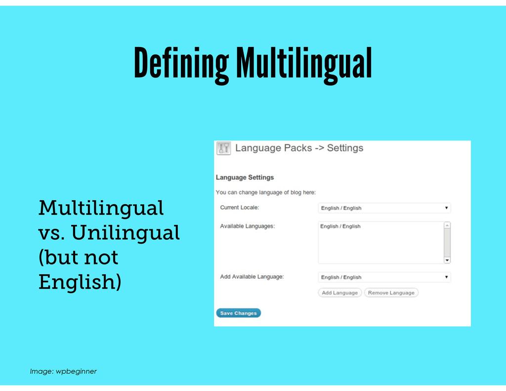 Defining Multilingual Multilingual vs. Unilingu...