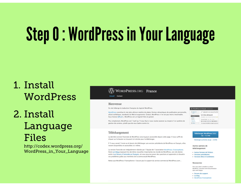 Step 0 : WordPress in Your Language 1. Install ...