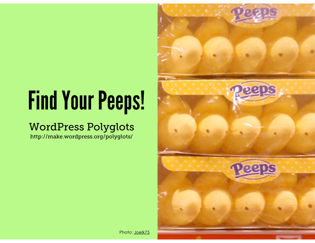 Find Your Peeps! WordPress Polyglots http://mak...