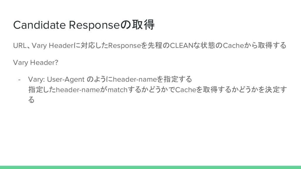 Candidate Responseの取得 URL、Vary Headerに対応したRespo...