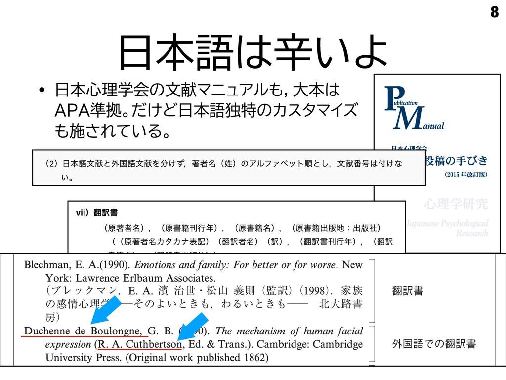 日本語は辛いよ • 日本心理学会の文献マニュアルも,大本は APA準拠。だけど日本語独特のカス...