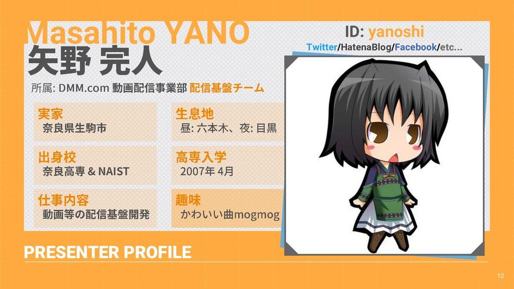 12 PRESENTER PROFILE Masahito YANO ID: yanoshi ...