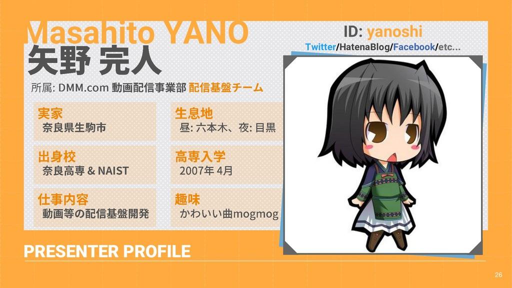 26 PRESENTER PROFILE Masahito YANO ID: yanoshi ...
