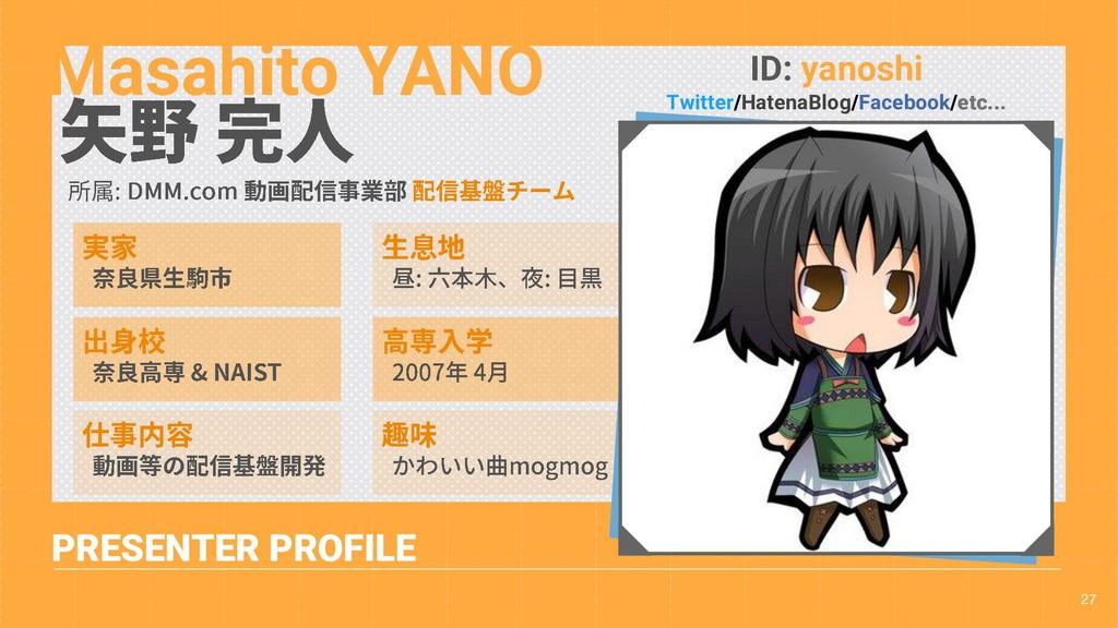 27 PRESENTER PROFILE Masahito YANO ID: yanoshi ...