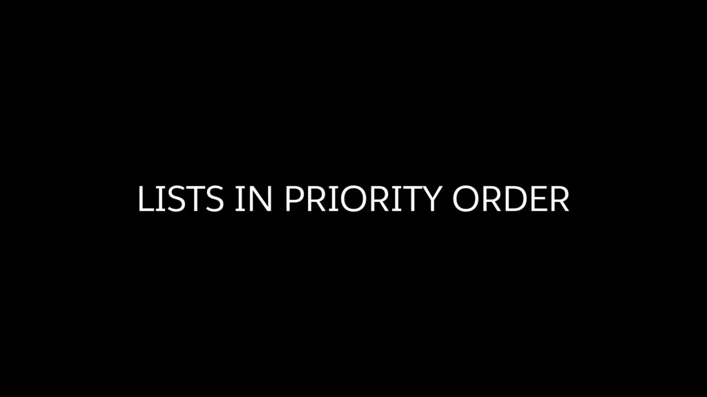 LISTS IN PRIORITY ORDER