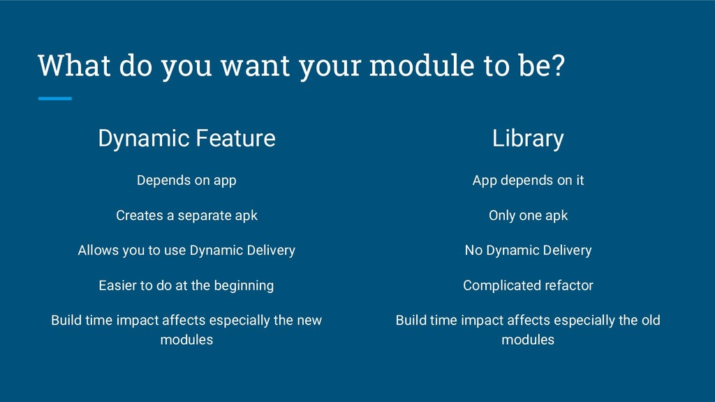 What do you want your module to be? Dynamic Fea...