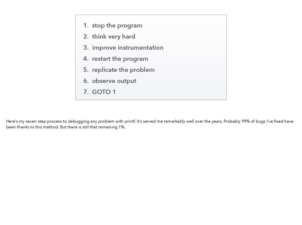 1. stop the program 2. think very hard 3. impro...