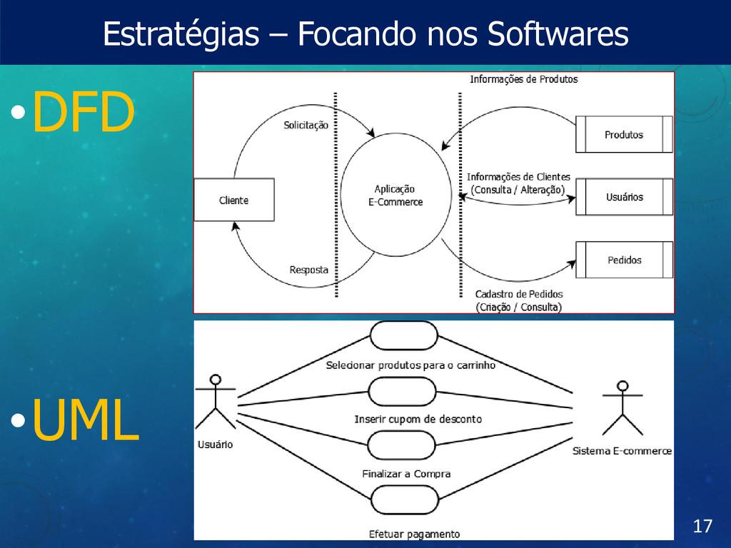 Estratégias – Focando nos Softwares •DFD •UML 17