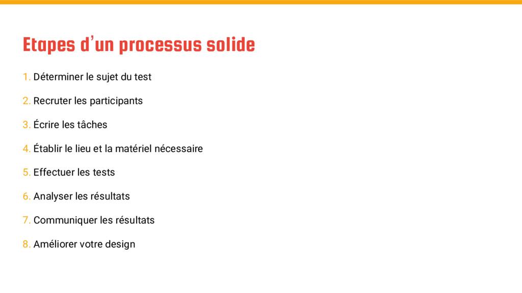 Etapes d'un processus solide 1. Déterminer le s...
