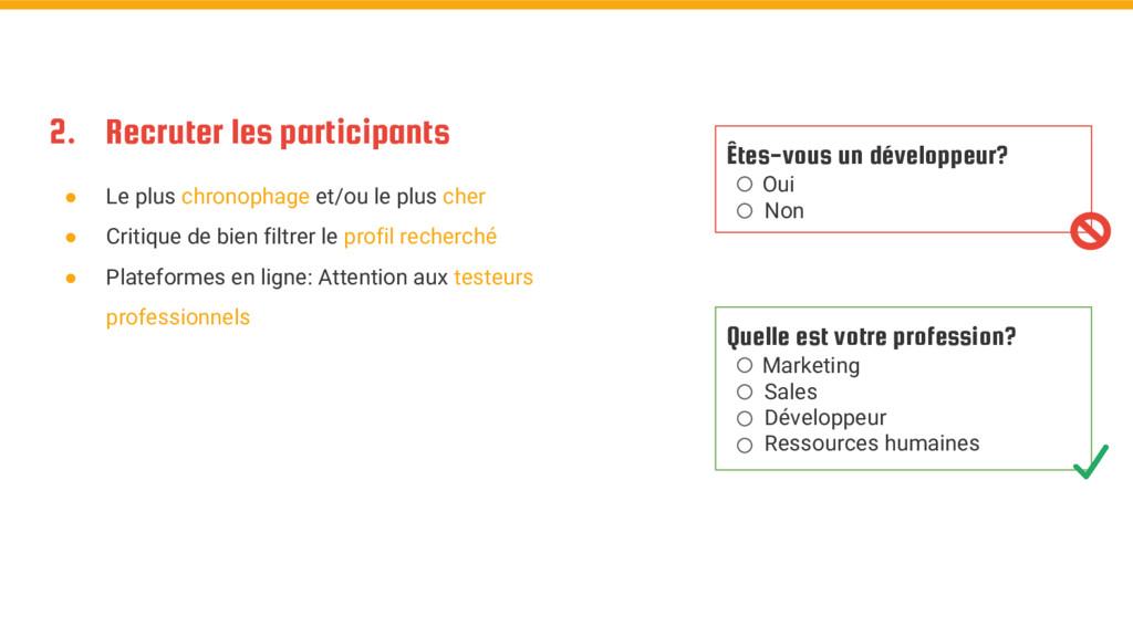 2. Recruter les participants ● Le plus chronoph...