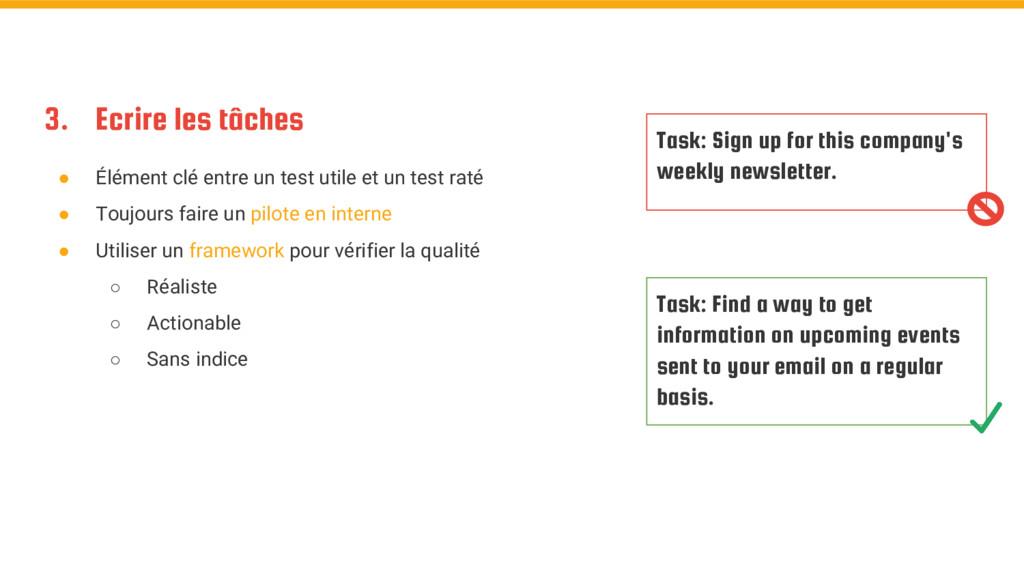 3. Ecrire les tâches ● Élément clé entre un tes...