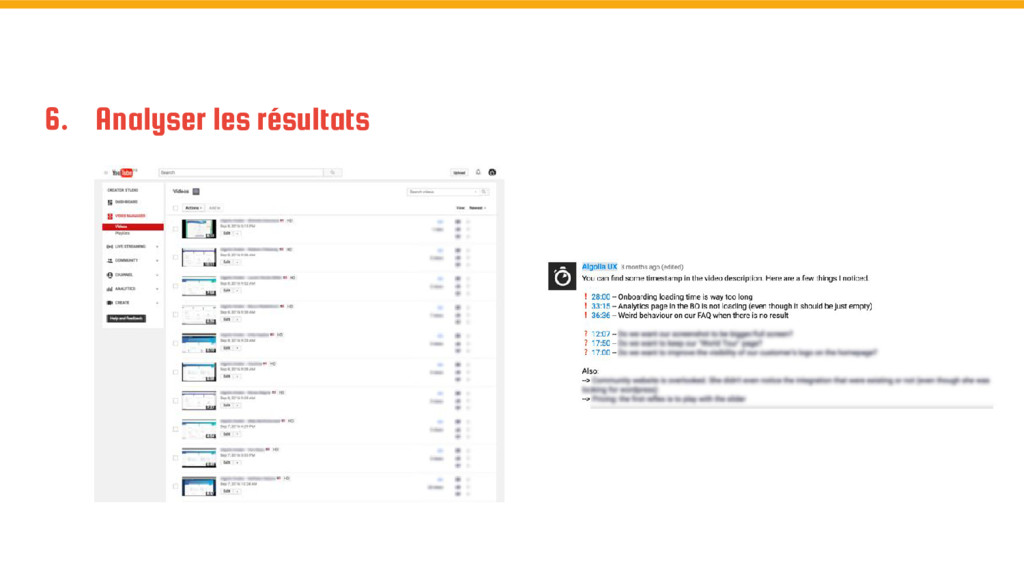 6. Analyser les résultats