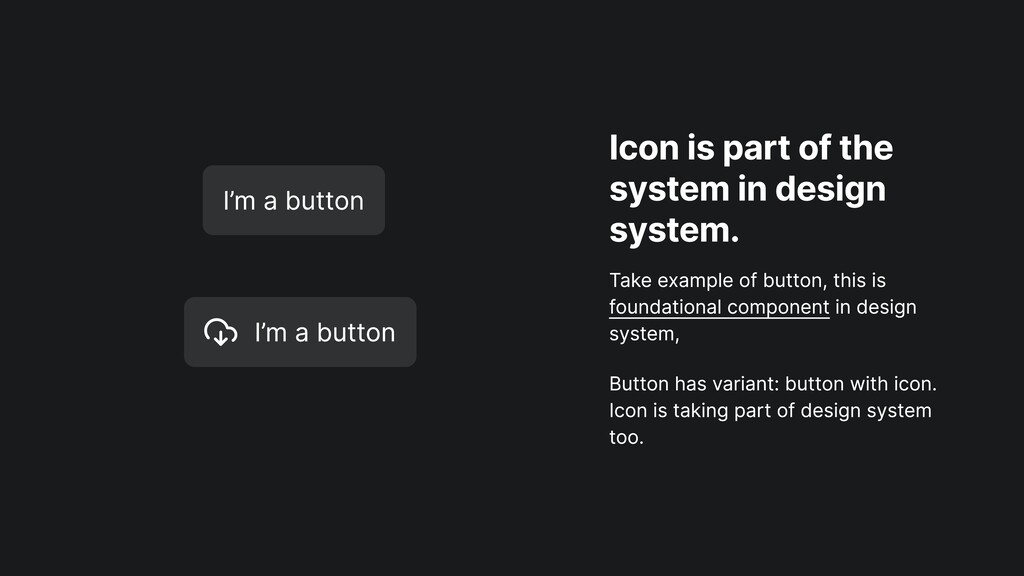 Icon is part of the system in design system. Ta...
