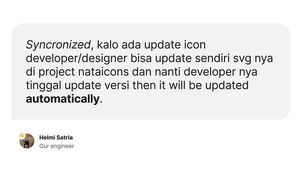 Syncronized, kalo ada update icon developer/des...