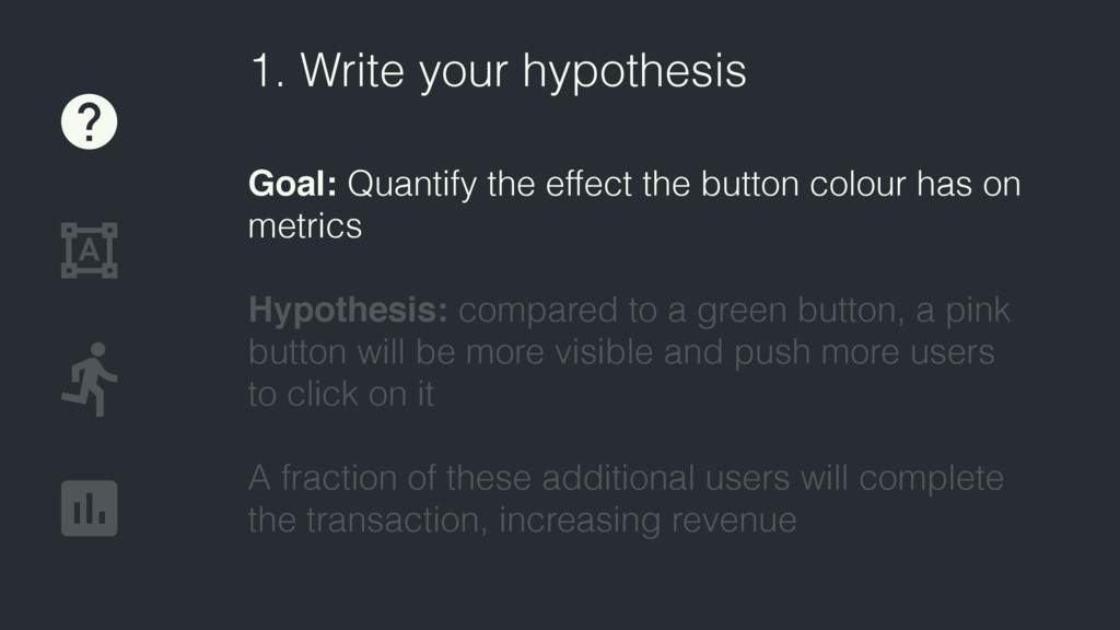 1. Write your hypothesis Goal: Quantify the eff...