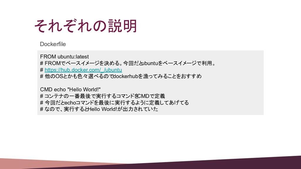 それぞれの説明 FROM ubuntu:latest # FROMでベースイメージを決める。今...