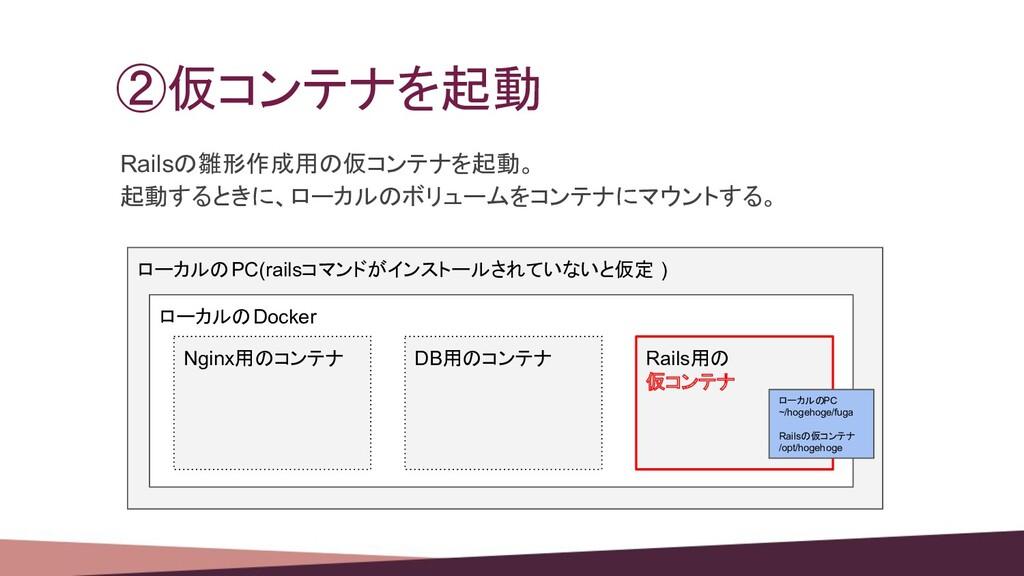 ②仮コンテナを起動 Railsの雛形作成用の仮コンテナを起動。 起動するときに、ローカルのボリ...