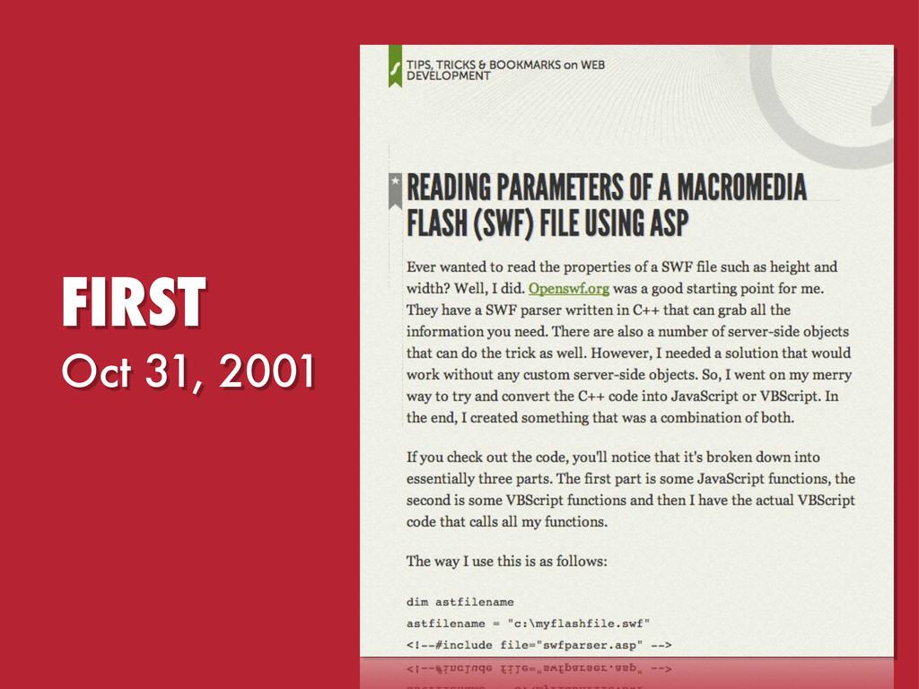 Oct 31, 2001 FIRST