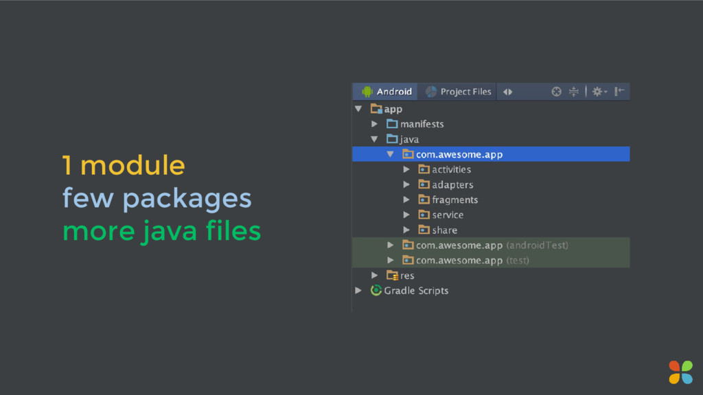 1 module few packages more java files