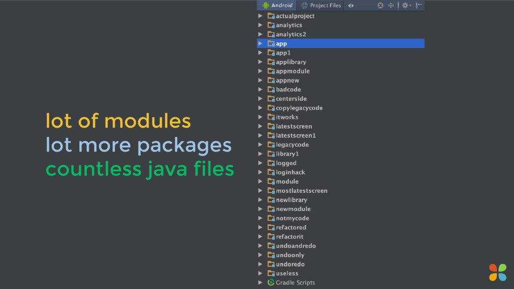 lot of modules lot more packages countless java...