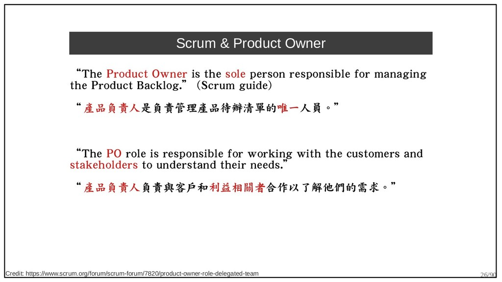 """26/90 Scrum & Product Owner """"The Product Owner ..."""