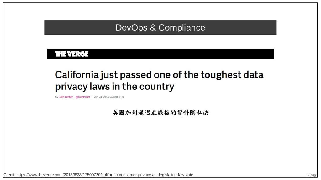 52/90 DevOps & Compliance 美國加州通過最嚴格的資料隱私法 Credi...