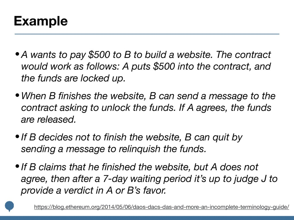 Example •A wants to pay $500 to B to build a we...