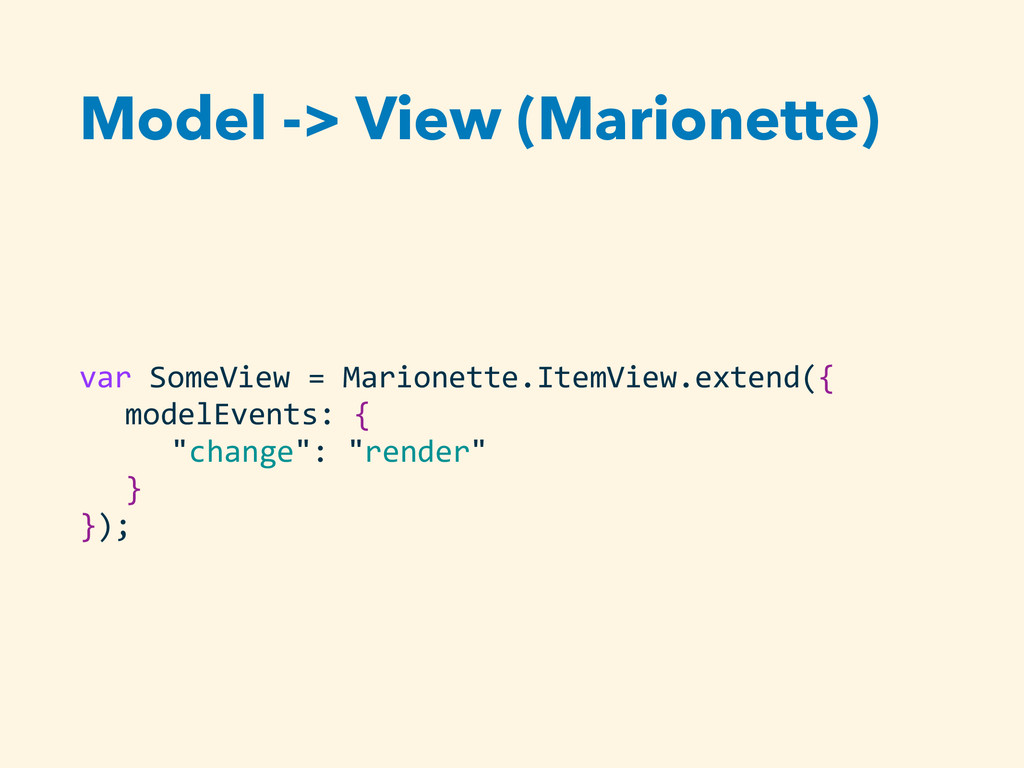 Model -> View (Marionette) var SomeView =...