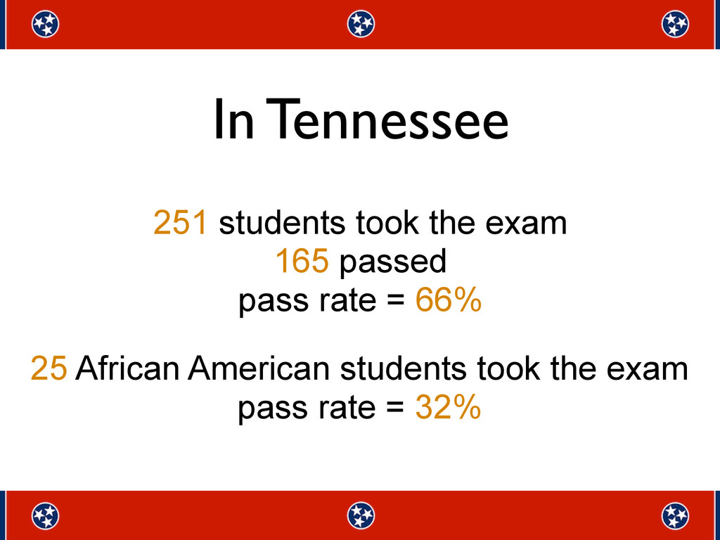 25 African American students took the exam pass...
