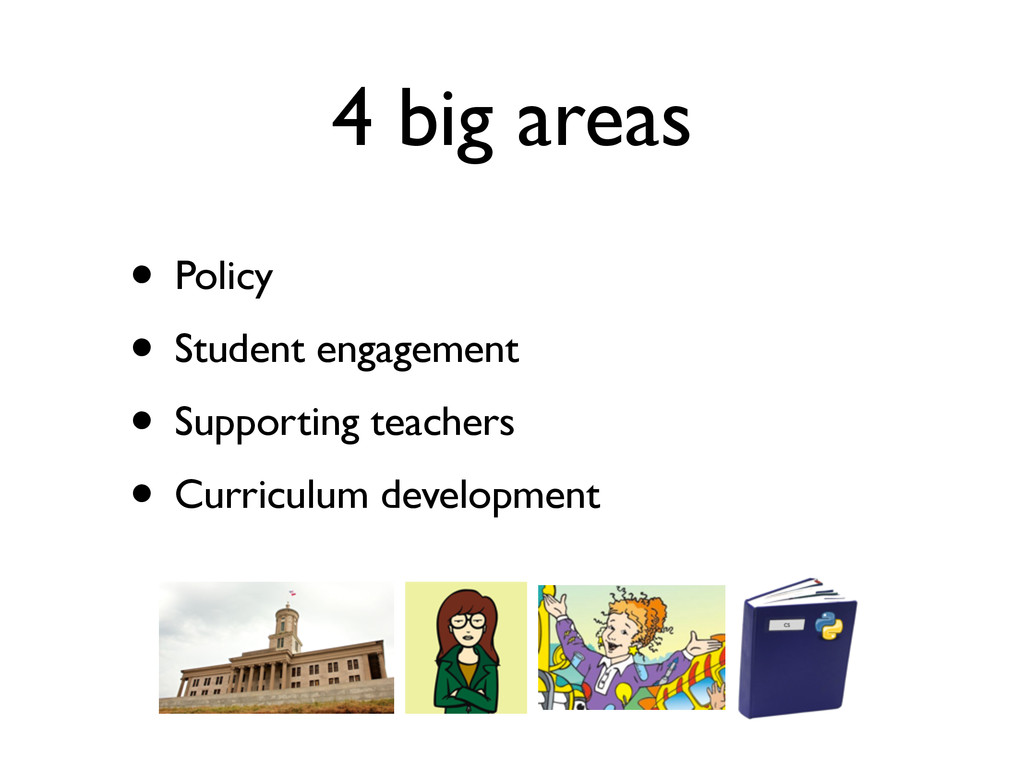 4 big areas • Policy • Student engagement • Sup...