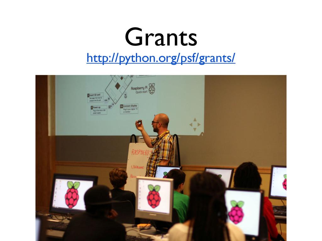 Grants http://python.org/psf/grants/