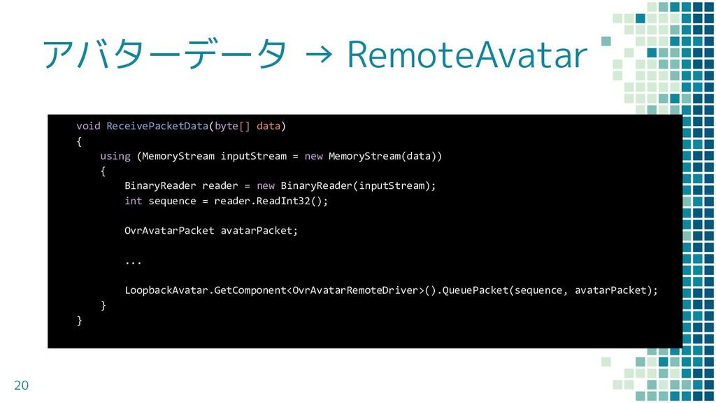 アバターデータ → RemoteAvatar 20 void ReceivePacketDat...