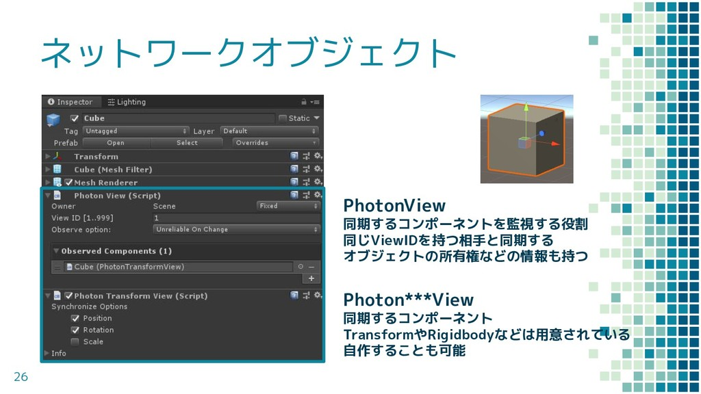 ネットワークオブジェクト 26 PhotonView 同期するコンポーネントを監視する役割 同...