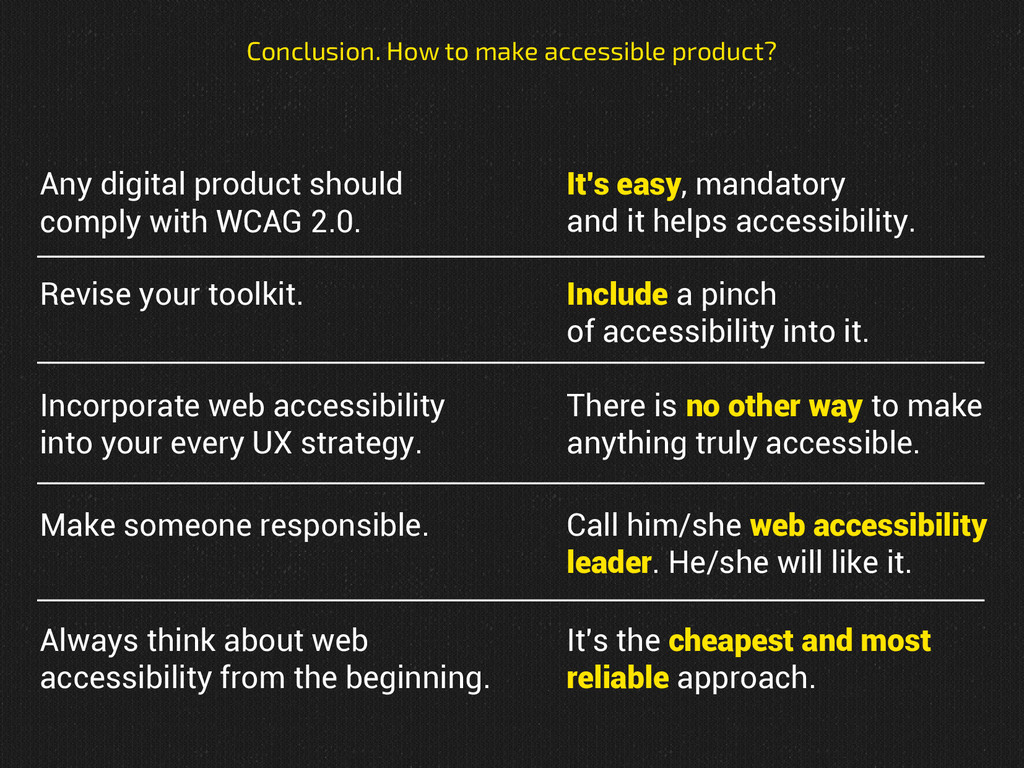 Any digital product should comply with WCAG 2.0...