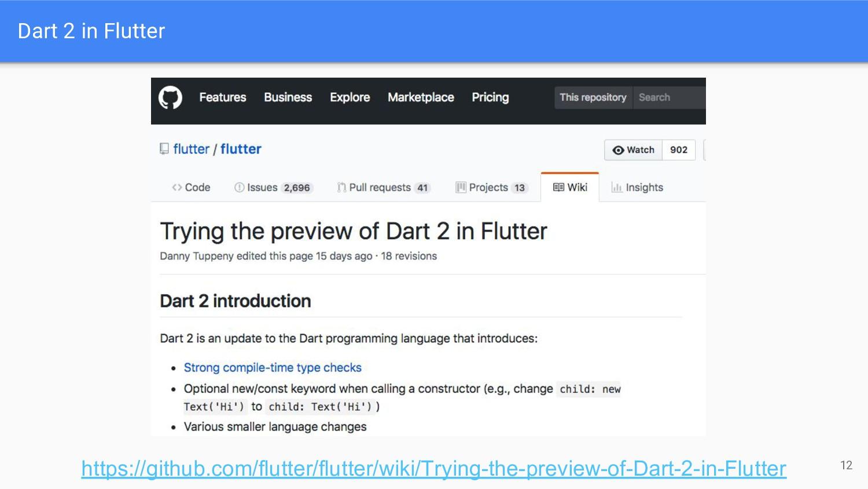 Dart 2 in Flutter 12 https://github.com/flutter...
