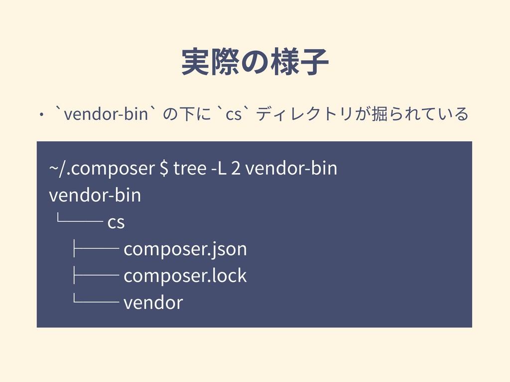 実際の様⼦ ~/.composer $ tree -L 2 vendor-bin vendor...