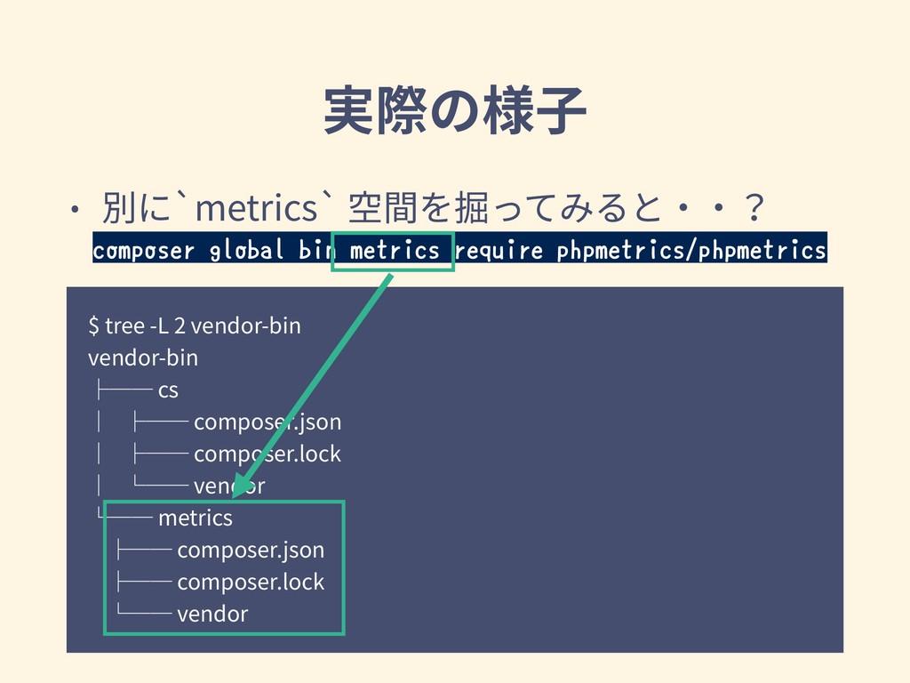 実際の様⼦ $ tree -L 2 vendor-bin vendor-bin ├── cs ...