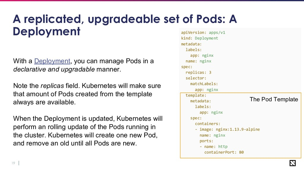 19 A replicated, upgradeable set of Pods: A Dep...