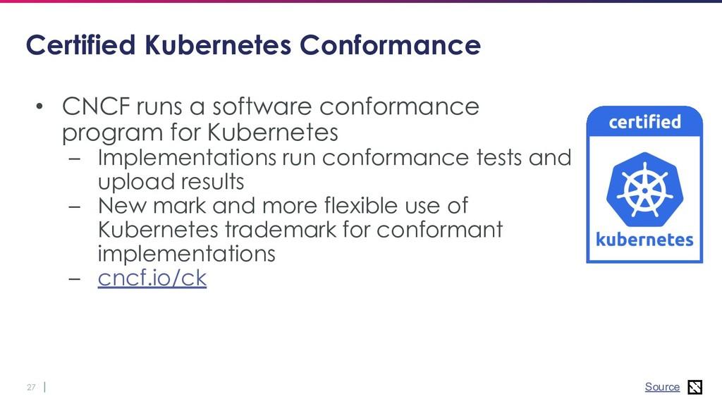 27 Certified Kubernetes Conformance • CNCF runs...