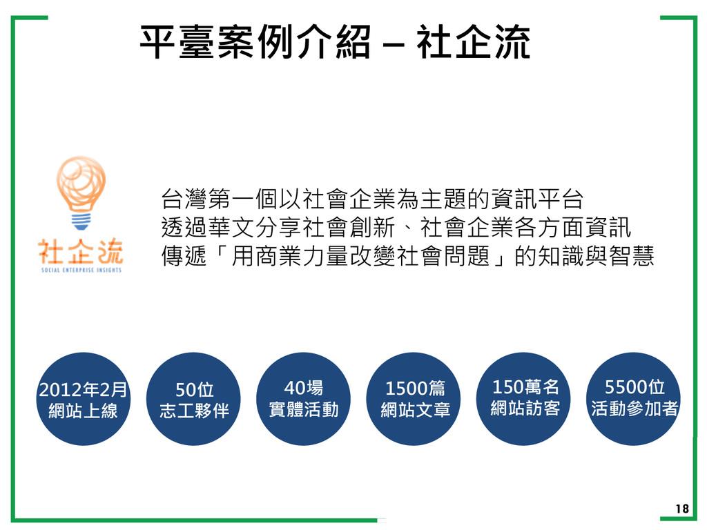 18 平臺案例介紹 – 社企流 台灣第一個以社會企業為主題的資訊平台 透過華文分享社會創新、社...