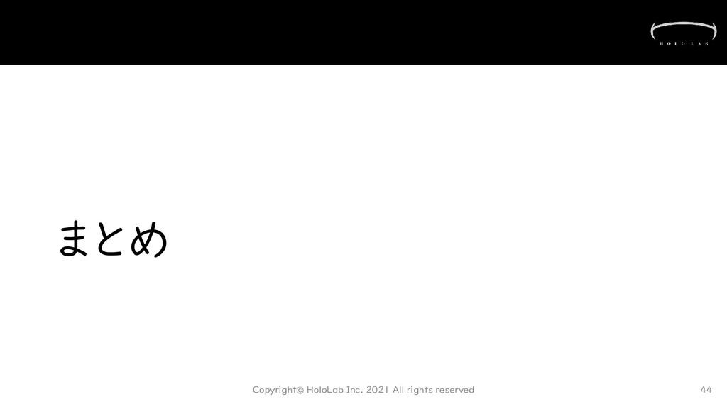 まとめ Copyright© HoloLab Inc. 2021 All rights res...