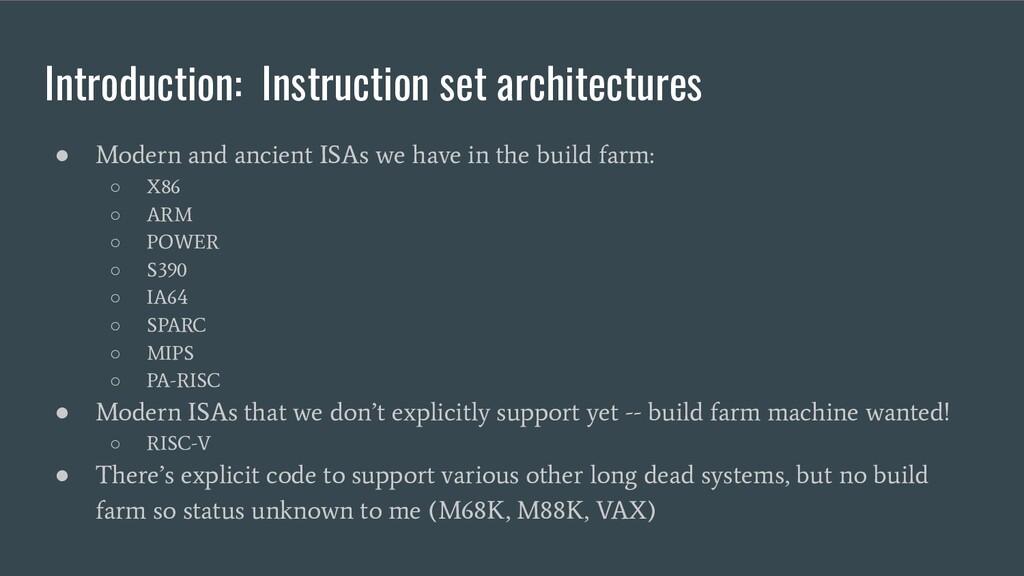 Introduction: Instruction set architectures ● M...