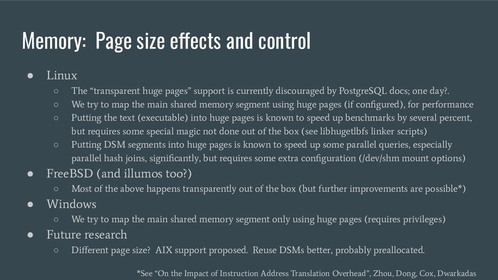 Memory: Page size effects and control ● Linux ○...