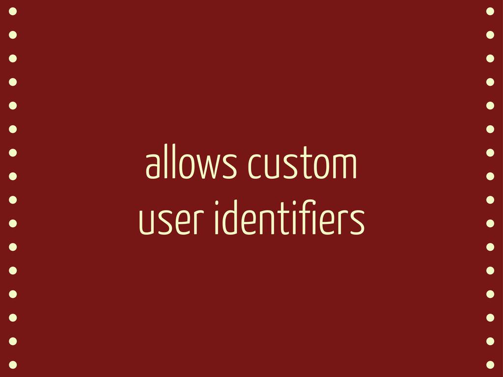 allows custom user identifiers