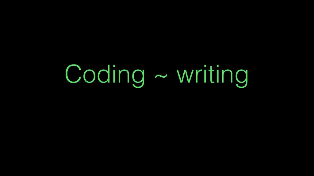 Coding ~ writing