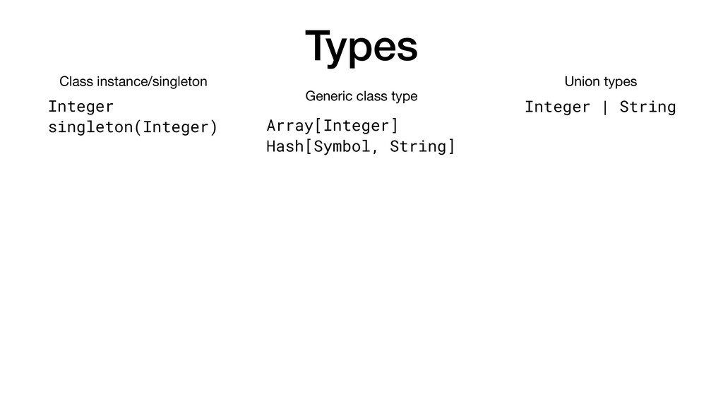Types Integer singleton(Integer) Class instance...