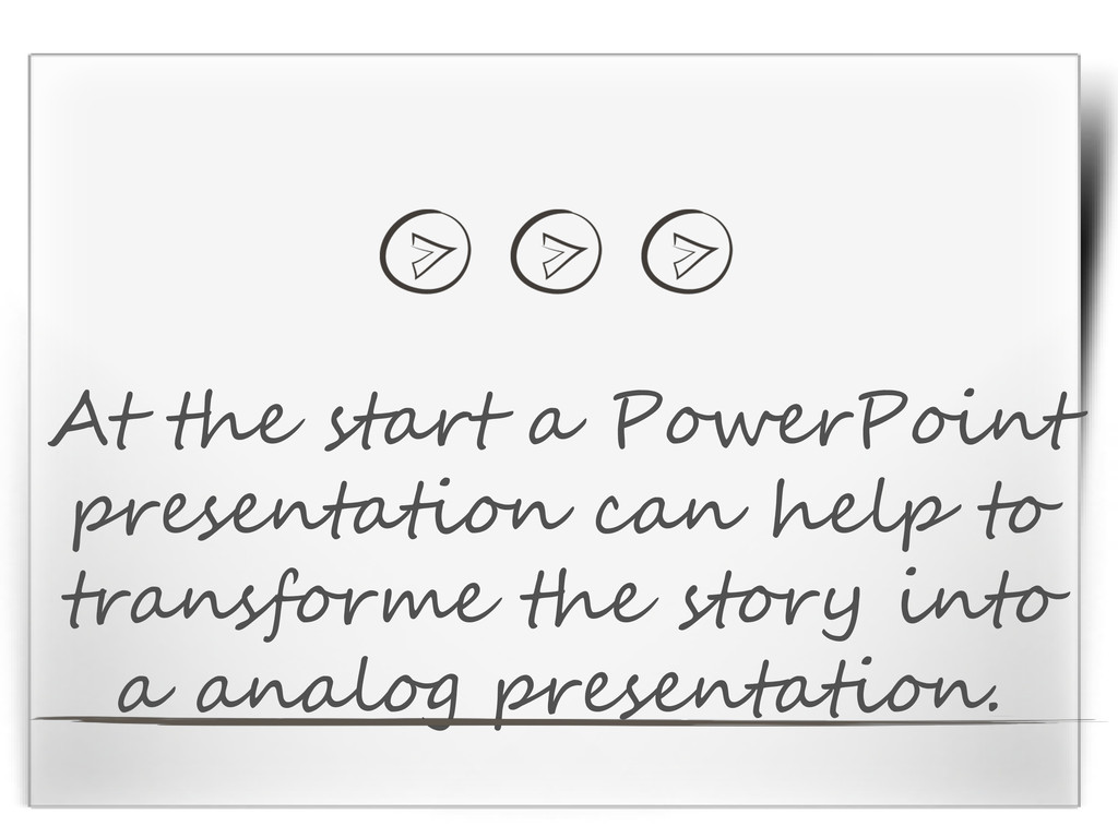 At the start a PowerPoint presentation can help...