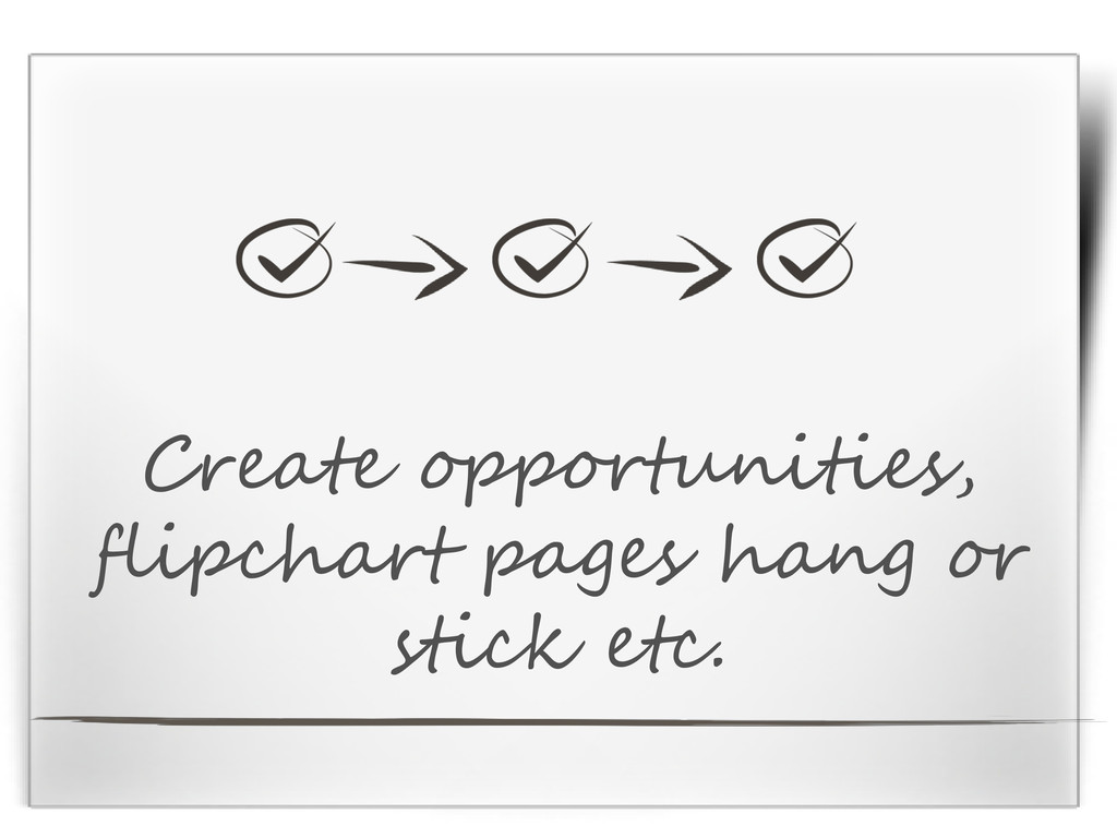 Create opportunities, flipchart pages hang or s...